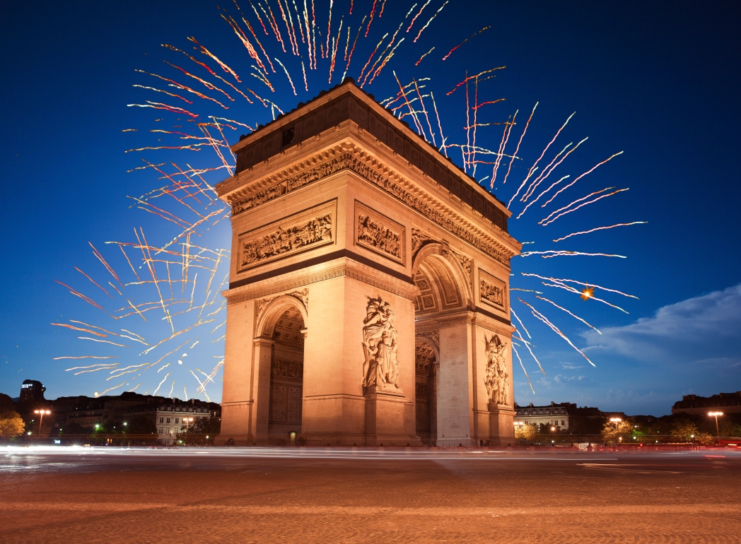 Fireworks at the Arc of Triumph in Paris