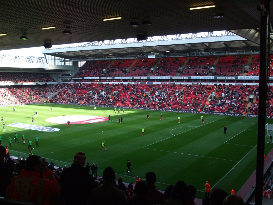 Liverpool Football Club's home stadium, Anfield.