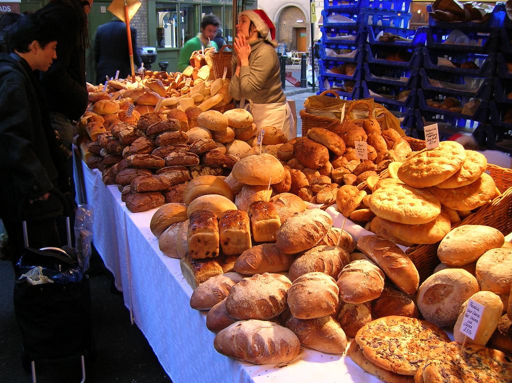 A bread stall at Borough Market