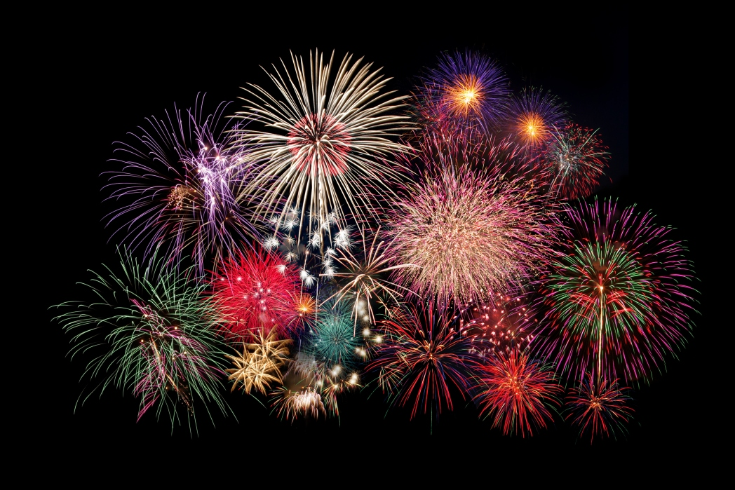 Fireworks in the sky.
