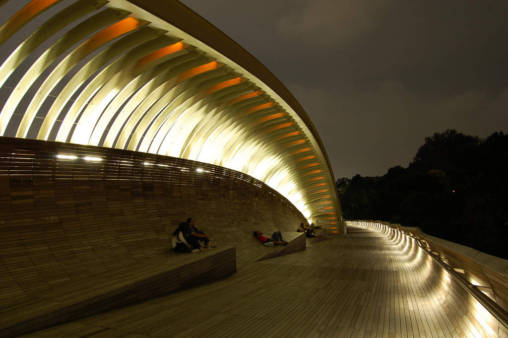 The wooden Henderson Waves bridge lit up at night, with people relaxing on the curved benches under a 'crest.'
