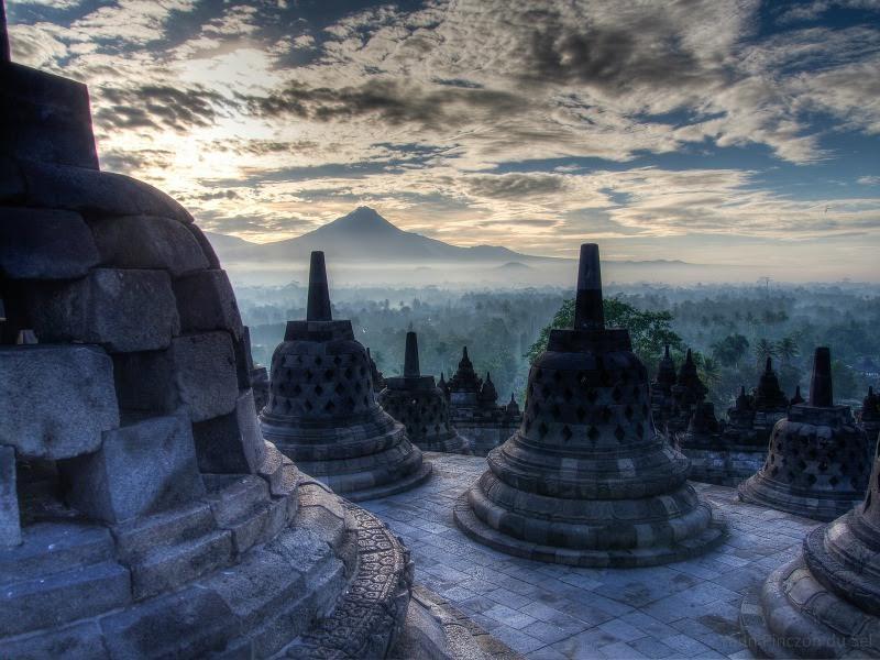 Temples at Borobudur at dusk