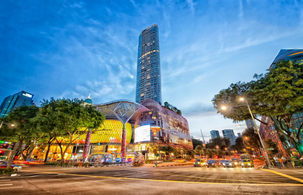 ION Orchard and ION Residences lit up at night