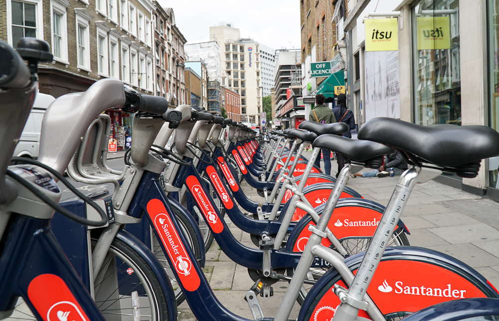The Santander Cycle docking stations for parking your rented bicycles