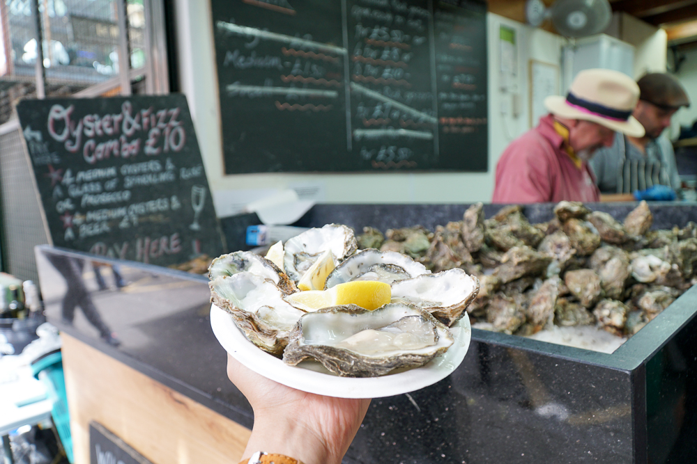 Fresh oysters at Borough Market