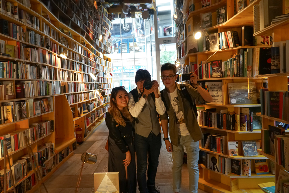 Group selfie at Libreria bookshop