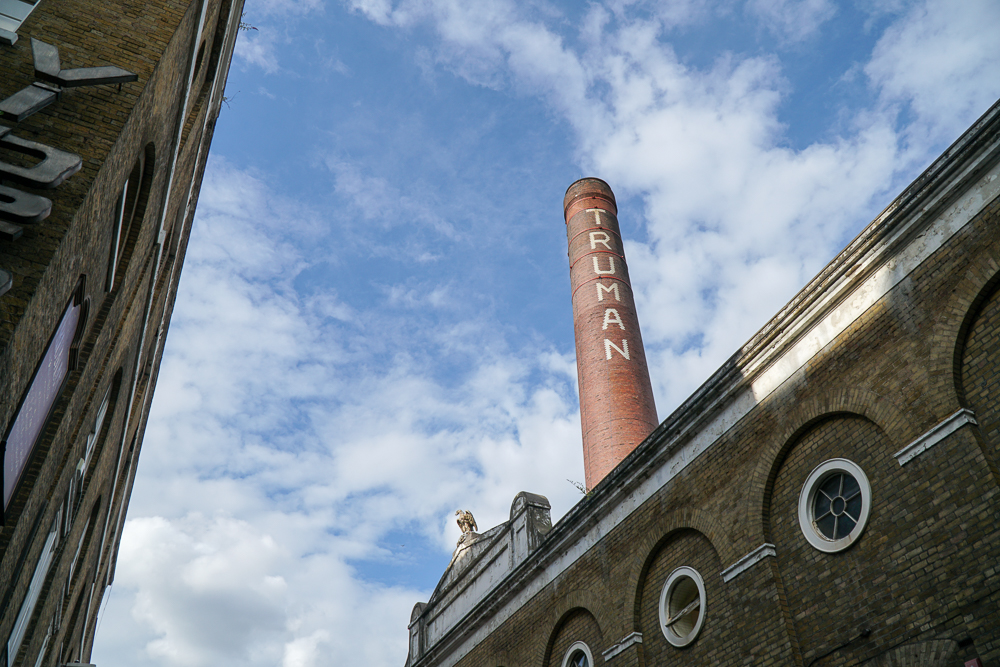 Wide view of the famous and old Truman Brewery against the blue skies