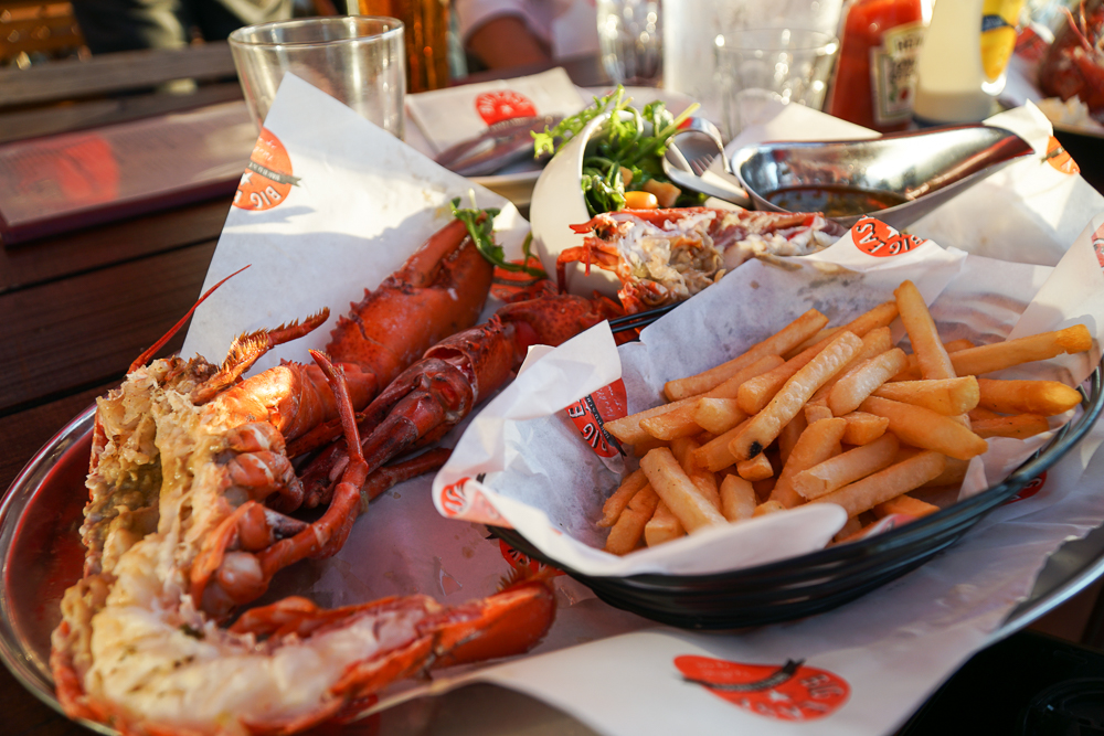 Close up shot of lobster set at Big Easy Canary Wharf.