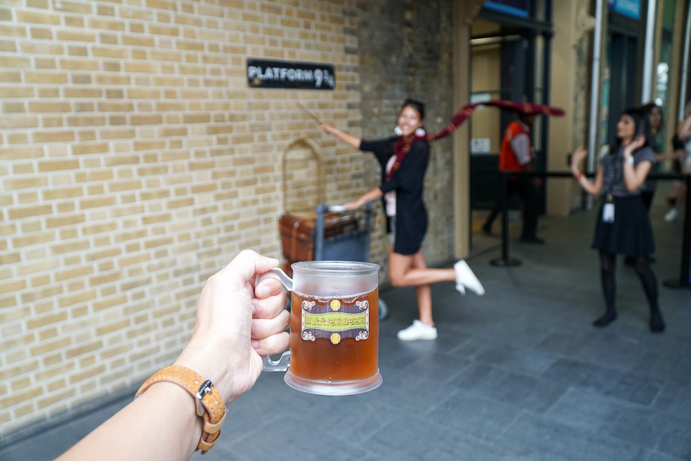 The famous platform 9¾ inside King's Cross station.