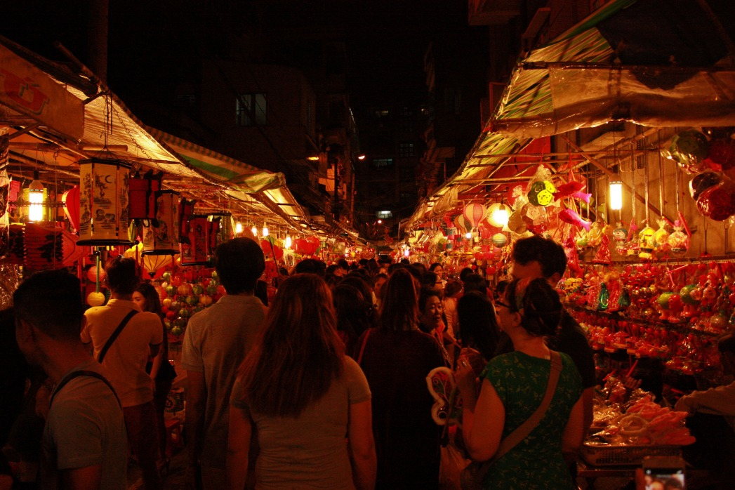 A market selling mid-autumn festival sweets and toys.