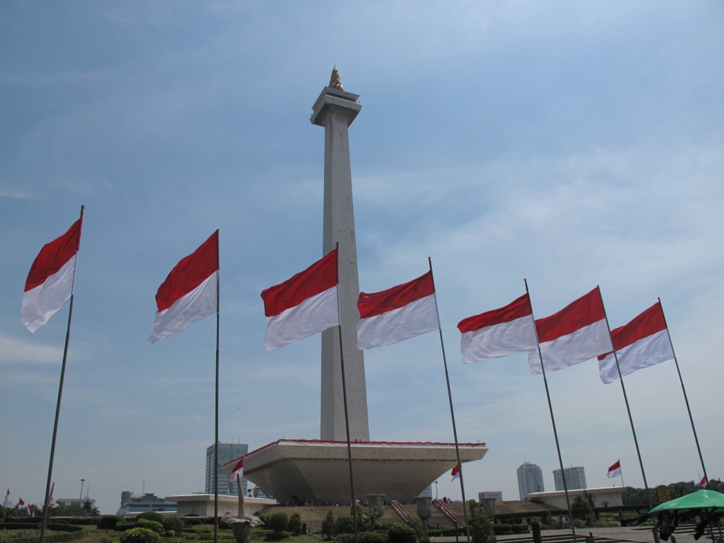 Monas with flags waving