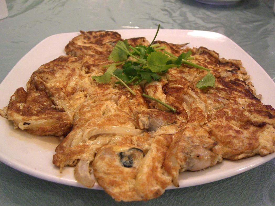 plate of oyster omelette