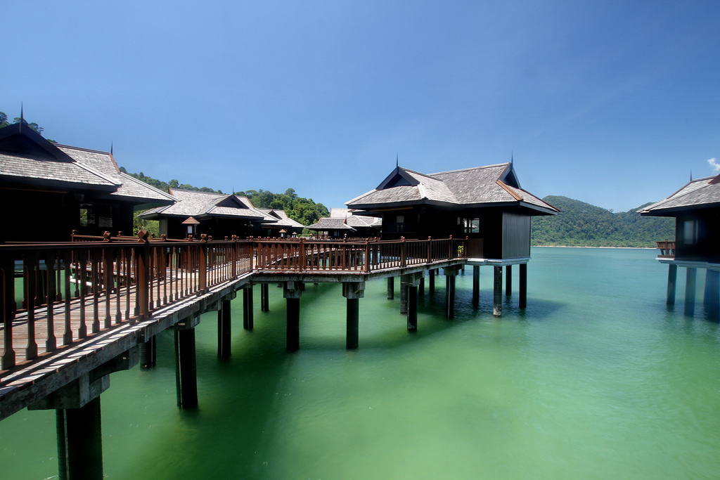 Wooden Bungalows on stilts on the sea at Pangkor Island