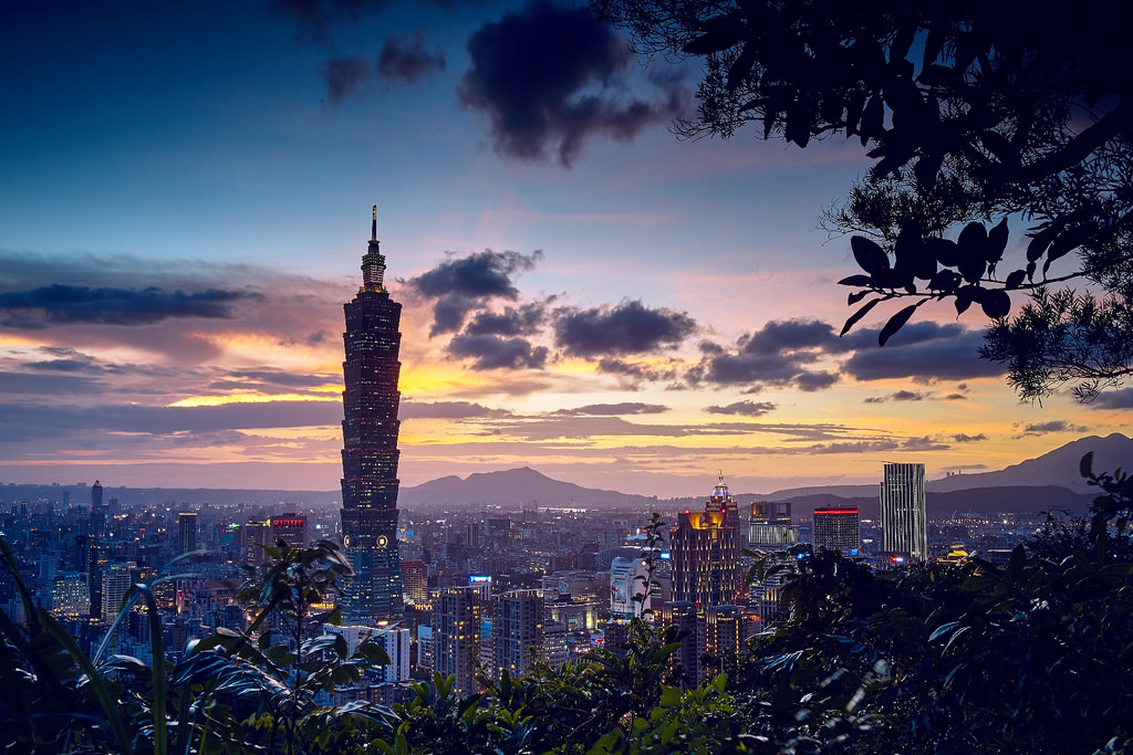 The skyline of Taiwan at sunset.